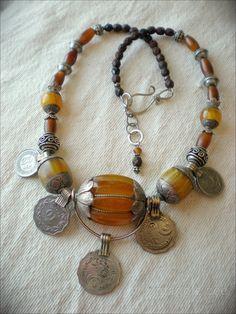 Lucky Silk Road Tibetan Amber Amulet Necklace by maggiezees Chunky Jewelry, Tribal Jewelry, Boho Jewelry, Jewelery, Handmade Jewelry, Jewelry Design, Jewelry Necklaces, Unique Jewelry, Teething Necklace