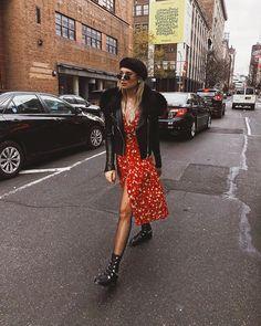 fishnets, ankle boots, leather jacket, beret, floral midi dress