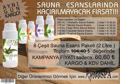 5 Çeşit Sauna Esans Paketi Toplam ₺ 104,40 (2 Litre ) değerinde KAMPANYA FİYATI sadece: ₺ 60,60 KARGO & KDV DAHİL