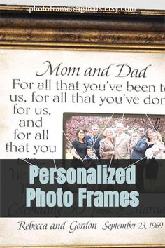 Personalized Anniversary Photo Picture Frame Thank You Gift For Parents, Wedding Gifts For Parents, Anniversary Gifts For Parents, Anniversary Photos, Thank You Gifts, Personalized Picture Frames, Photo Picture Frames, Grandparent Gifts, Grandparents