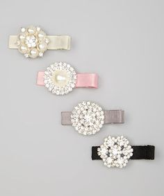 Love this Pink & Ivory Rhinestone Clip Set by Charlotte Rose Couture on #zulily! #zulilyfinds