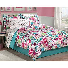 @Overstock - This Peace Out bed in a bag set showcases peace signs in turquoise, magenta, eggplant, apple green, coral and petal pink. This bedding ensemble includes a coordinating sheet set showcasing a polka dot design.http://www.overstock.com/Bedding-Bath/Peace-Out-5-piece-Twin-size-Bed-in-a-Bag-with-Sheet-Set/5326024/product.html?CID=214117 $39.99