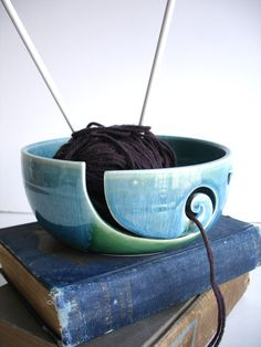 I don't knit, but- How very clever!      Forest Green Wheel Thrown Yarn Bowl MADE TO ORDER by NewMoonStudio, $38.00