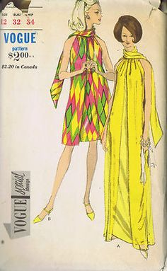 Vintage 60's Evening Dress Pattern in Two Lengths    Evening or street length Dress pattern has Over-Dress with front opening and gathered (ewe) neckline.  Scarf attached at back neck.  Under Dress with zipper closing at back is attached to Over-Dress at neck and armholes.