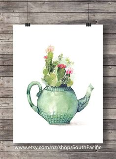 Cacti teapot art print Printable art Watercolor cactus painting watercolor cactus botanical house plant potted plant decor Printable art print, easily reduced to MADE WITH LOVE ♥ ____________________________ Cactus House Plants, Cactus Decor, Cactus Art, Plant Decor, Potted Plants, Art Aquarelle, Art Watercolor, Watercolor Plants, Art Et Nature