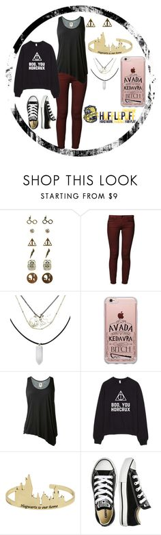 """Harry Potter Nerd"" by crossxover ❤ liked on Polyvore featuring Warner Bros., Lee, L'Agence, Converse, harrypotter and hp"