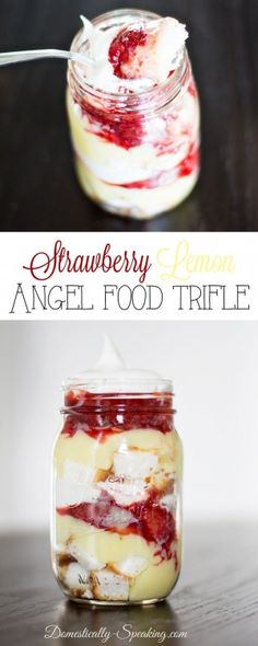 This Mason Jar Strawberry Lemon Angel Food Cake Trifle is the perfect Spring dessert. All of the deliciousness of a strawberry lemon cake in a jar! These individual desserts are perfect for a small gathering or party! Brownie Desserts, Köstliche Desserts, Delicious Desserts, Dessert Recipes, Yummy Food, Picnic Recipes, Picnic Ideas, Picnic Foods, Mason Jar Desserts