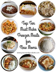 Top ten must make freezer meals for new moms- or anyone looking to get ahead in the dinner department! Everything from pasta, chicken, soup and slow cooker.