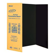 "BAZIC 36"""" X 48"""" Black Tri-Fold Corrugated Presentation Board Case Pack 24"