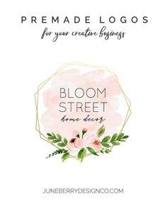 Pink Floral Geometric Gold Frame Premade Logo No. Shop Icon, Beauty Logo, Gold Logo, Shop Logo, Frame It, Text Color, Business Names, Signature Logo, Creative Business