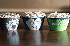 Halloween cupcakes, monster, brains, blood, free printables, cupcake wrappers, halloween party food