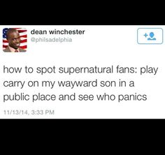 CARRY ON MY WAYWARD SON • Supernatural • doing this