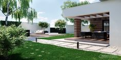 HomeKONCEPT 43 Kup Projekt domu z rabatem - Prestige House There are lots of things Wisteria Pergola, Outdoor Pergola, Backyard Pergola, Pergola Shade, Outdoor Decor, Pergola Attached To House, Pergola With Roof, Covered Pergola, Vinyl Pergola