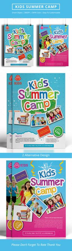 Kids Summer Camp Bifold Brochure   Kid Print  And Flyer Template