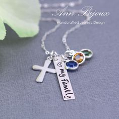 """Personalized """"Love My Family"""" with Cross Necklace, Hand Stamped Famliy Necklace, Mother Necklace, Grandma Necklace, Mom Gift, Grandma Gift by ANNBIJOUXNEWYORK on Etsy"""