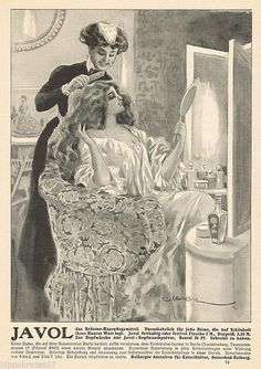 Hübsche Dame Frau Frisör Friseur * JAVOL Kolberg Haarpflege 1913 Reklame (14) | eBay