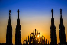Sunset on the cathedral of Milan