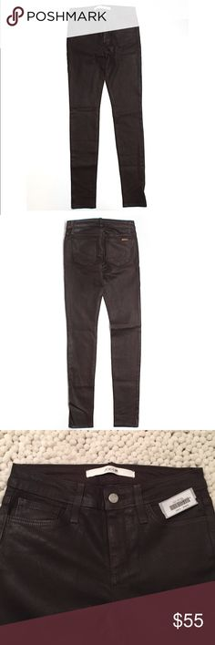 "NWT- Joe's Jeans Faux Leather Pants NWT- Joe's Jeans Faux Leather Pants. 25""waist and 32"" inseam. Skinny leg cut, low rise waist. Dark brown color. Joe's Jeans Jeans Skinny"
