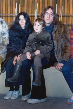 10th December 1968. John, Yoko and Julian photographed back stage at the 'Rock and Roll Circus'.