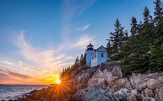 Download wallpapers lighthouse, bay, ocean, coast, sunset, Atlantic Ocean, Bass Harbor, Maine, Acadia National Park, Mount Desert Island, USA