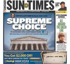 #20160215 #USA #CHICAGO #ILLINOIS #ChicagoSunTimes Monday FEB 15 2016 http://www.newseum.org/todaysfrontpages/?tfp_show=80&tfp_page=2&tfp_id=IL_CST