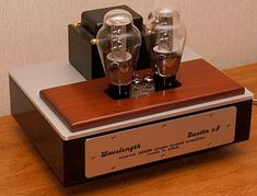 The new Wavelength Audio Duetto v3 300B stereo tube amplifier.  10 watts per channel.  Can be ordered as an integrated amp, too.