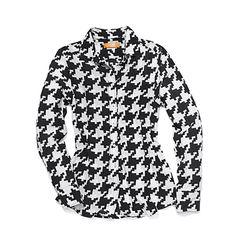 I always imagine I look FIERCE in a bold graphic print. Joe Fresh Women's Houndstooth Silk Shirt $49