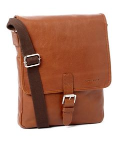 Loving this Cognac Pebble Leather Messenger Bag on #zulily! #zulilyfinds