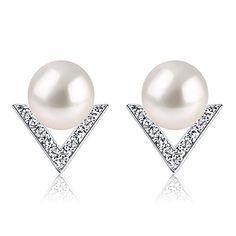 B.Catcher Boucles d'oreilles en Argent 925-Clous d'oreilles des perles-Femmes Boucles d'oreilles en mot V-Perles de culture-Saint-Valentin…