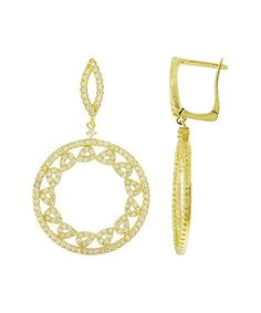 Love this Cubic Zirconia & Gold Circle Pavé Earrings on #zulily…