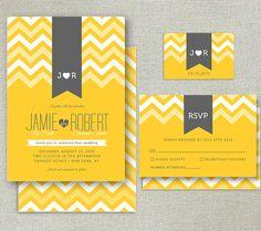 Modern Printable Wedding Invitation Set - Invitation, RSVP and Monogram - CHEVRON & RIBBONS collection - yellow and grey on Etsy, $35.00