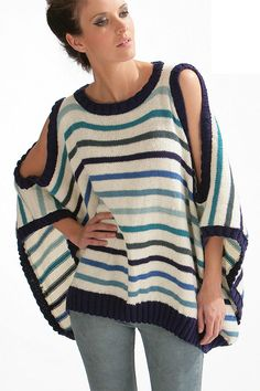Free Knitting Pattern for Striped Cold Shoulder Poncho Top - This pullover is knit in 2 pieces with shaping for sleeve cutouts and neckline which have ribbed edges. The shaping is mostly charted. Designed by Cheval Blanc Official. Pattern includes English, French, Dutch, German, and Spanish. DK weight yarn.