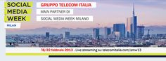 È iniziata la Social Week Milan 2013, dal 18 al 22 febbraio appuntamento con tanti eventi dedicati al mondo dei social network! Telecom Italia, main partner dell'evento, vi permette di seguire in streaming su www.telecomitalia.com/smw13 gli eventi, anche da remoto. Buona #SMWmilan a tutti!