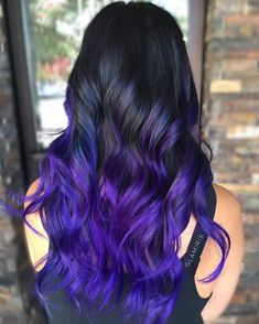 Ways to Wear Violet Hair Black To Purple Ombre Hair.Black To Purple Ombre Hair. Bold Hair Color, Ombre Hair Color, Ombre Hair Lavender, Ombre Hair Rainbow, Purple Hair Colors, Hair Colors For Summer, Purple Hair Tips, Deep Purple Hair, Bright Purple Hair