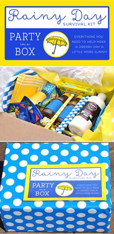 Rainy Day Party in a Box - Free printables, lots of tips for what to include! Great summer activity!