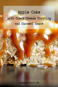 An incredibly rich and moist apple cake that is topped with tangy cream cheese frosting and salted caramel sauce. Apple Cake Recipes, Dessert Recipes, Desserts, Salted Caramel Sauce, Caramel Apples, Moist Apple Cake, Vegetarian Bake, Moist Cakes, Cake With Cream Cheese