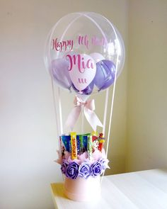 Pink and Purple hot air balloon filled with haribo sweets Balloon Flowers, Balloon Bouquet, Balloon Arch, Air Balloon, Balloon Basket, Balloon Gift, Birthday Wishes, Birthday Gifts, Haribo Sweets