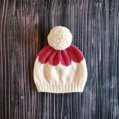 knit scalloped grapefruit & white pom pom beanie // pink warm alpaca wool winter hat // baby toddler adult sizes