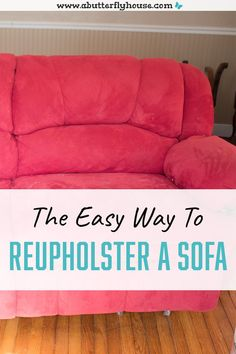 This is by far the easiest way to reupholster a reclining couch; you don't even have to remove the old fabric! #diyprojects #dropcloth Diy Furniture Flip, Thrift Store Furniture, Couch Makeover, Furniture Makeover, Reclining Couch, Reupholster Couch, Butterfly House, House Projects