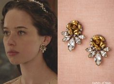 In the seventeenth episode Lola wears these Elizabeth Cole Wild Rose Earrings ($138). Worn with Reem Acra dress, Moyna capelet, L'Orina cuff and Danielle Stevens ring.