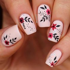 Short acrylic nails can be very fun to play around with all you need to know are perfect nail art ideas and that is something we can supply you with! nail designs easy Intricate Short Acrylic Nails To Express Yourself Floral Nail Art, Acrylic Nail Art, Acrylic Nail Designs, Cute Nail Art, Cute Nails, Pretty Nails, Cute Summer Nails, Fancy Nails, Flower Nail Designs