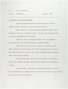 A statement prepared for President Nixon to read in the event that Neil Armstrong and Buzz Aldrin became stranded on the moon.