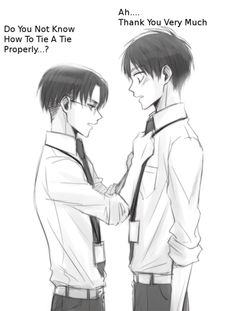 Aww, Levi helping Eren fix his tie :) reminds me of Rin and Shiro from Blue Exorcist, very similar looking situation | SNK