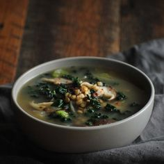 Shitakes, barley, kale and french lentils in a homemade tarragon-mushroom broth. Perfect soup for fall & winter!