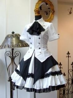Modern Victorian era steampunk clothing maid costume.