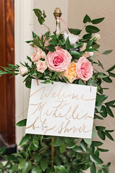 Pink Floral Baby Shower - Inspired By This - Love this welcome sign, o gorgeous idea for your floral baby shower! Baby Shower Flowers, Boho Baby Shower, Floral Baby Shower, Girl Shower, Baby Shower Cakes, Baby Shower Parties, Bridal Shower, Baby Shower Decorations For Boys, Baby Shower Themes