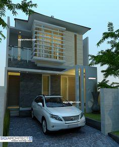Desain Rumah Urban 2-lantai di BEKASI. Permainan bidang, ukuran, detail, ending, pemilihan konsep dasar pewarnaan serta bahan yang kompak dan selaras.