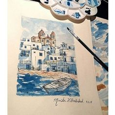Beautiful #watercolor #landscape #painting of #Greece from the #sea by @mo9ka6. Wonderful #colors and amazing job capturing the #architecture! Really great work Monika!  #CreativeAirship