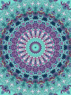 Turquoise & purple   mandala, geometric