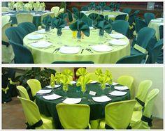 mesas verde oscuro y verde claro
